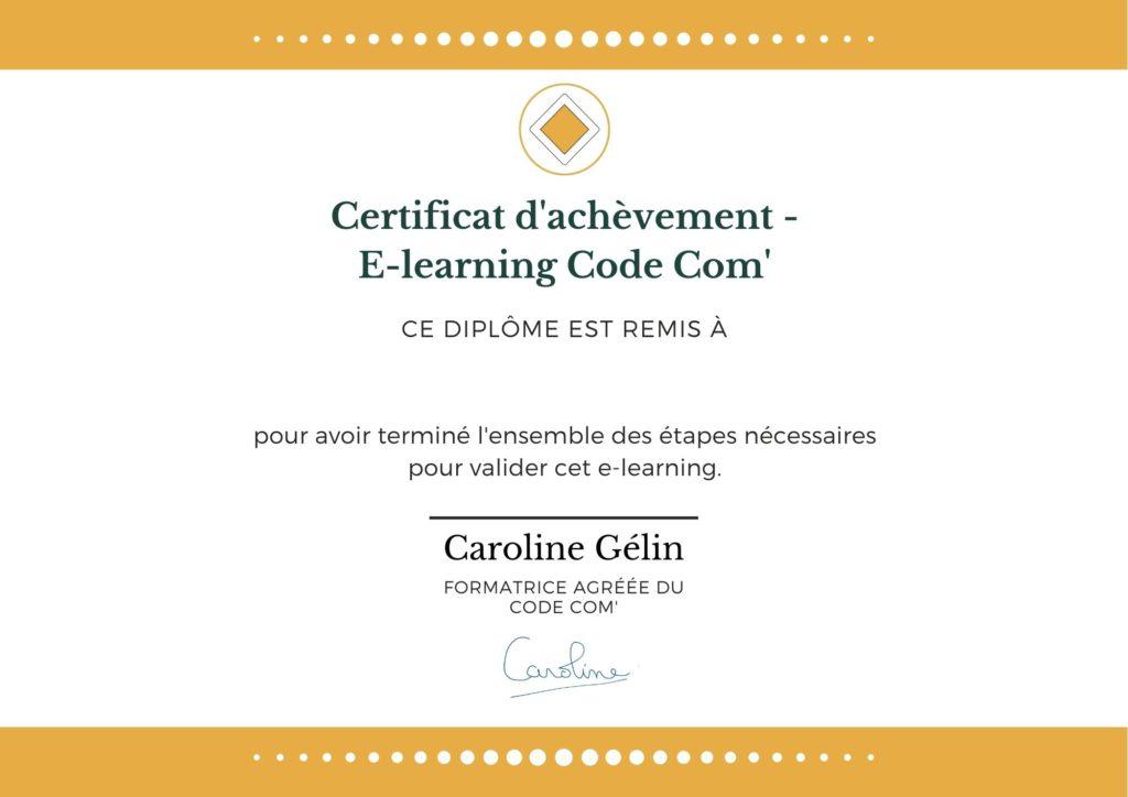Certificat CC Code Com Certificat Code Com'